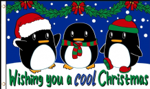 Wishing You A Cool Christmas Penguins 5'x3' (150cm x 90cm) Flag